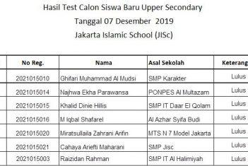 Hasil Test Calon Siswa Baru Secondary & Upper Secondary 07 Desember 2019 Jakarta Islamic School